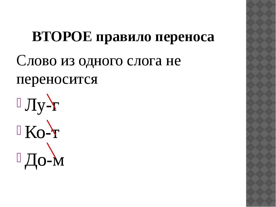 ВТОРОЕ правило переноса Слово из одного слога не переносится Лу-г Ко-т До-м