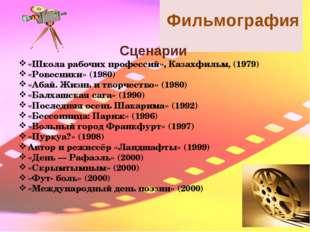 Фильмография Сценарии «Школа рабочих профессий», Казахфильм, (1979) «Ровесни