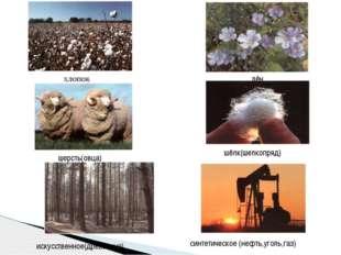 хлопок лён шерсть(овца) шёлк(шелкопряд) искусственное(древесина) синтетическо