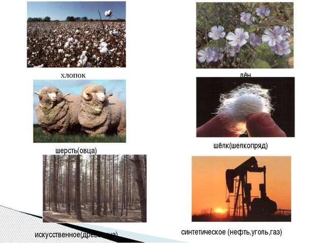 хлопок лён шерсть(овца) шёлк(шелкопряд) искусственное(древесина) синтетическо...