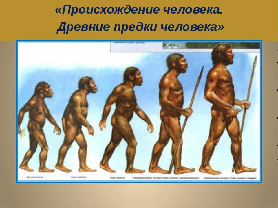 «Происхождение человека. Древние предки человека»