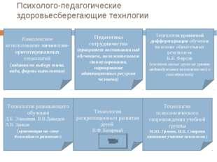 Психолого-педагогические здоровьесберегающие технлогии Комплексное использова