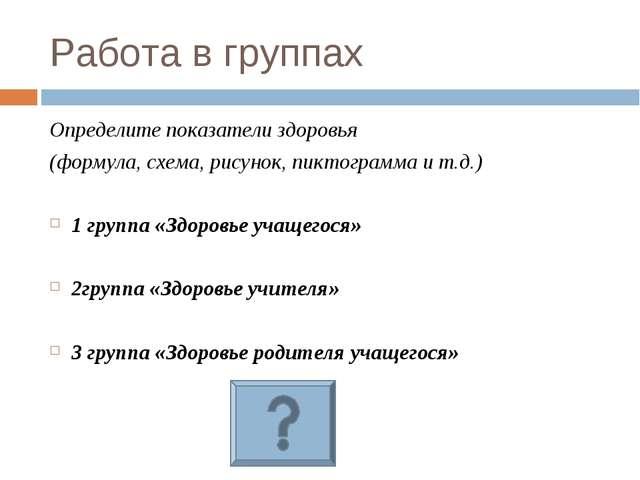 Работа в группах Определите показатели здоровья (формула, схема, рисунок, пик...