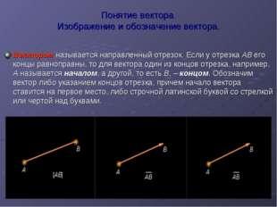 Понятие вектора Изображение и обозначение вектора. Вектором называется направ