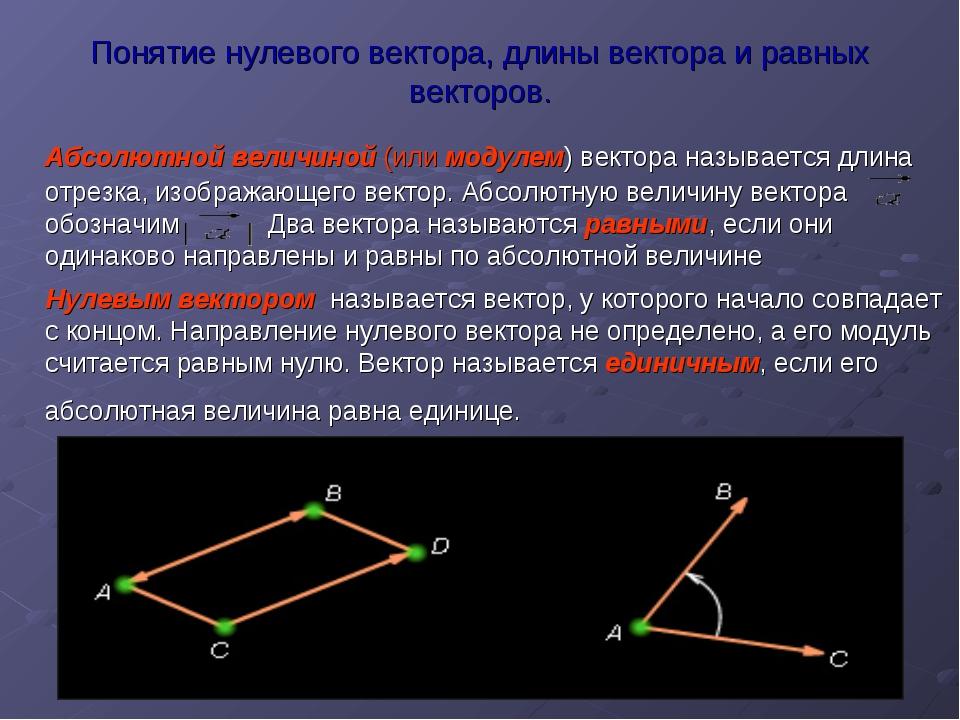 Понятие нулевого вектора, длины вектора и равных векторов. Абсолютной величин...