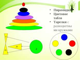 Пирамидки Цветовое табло Тарелки с разноцветными кружками