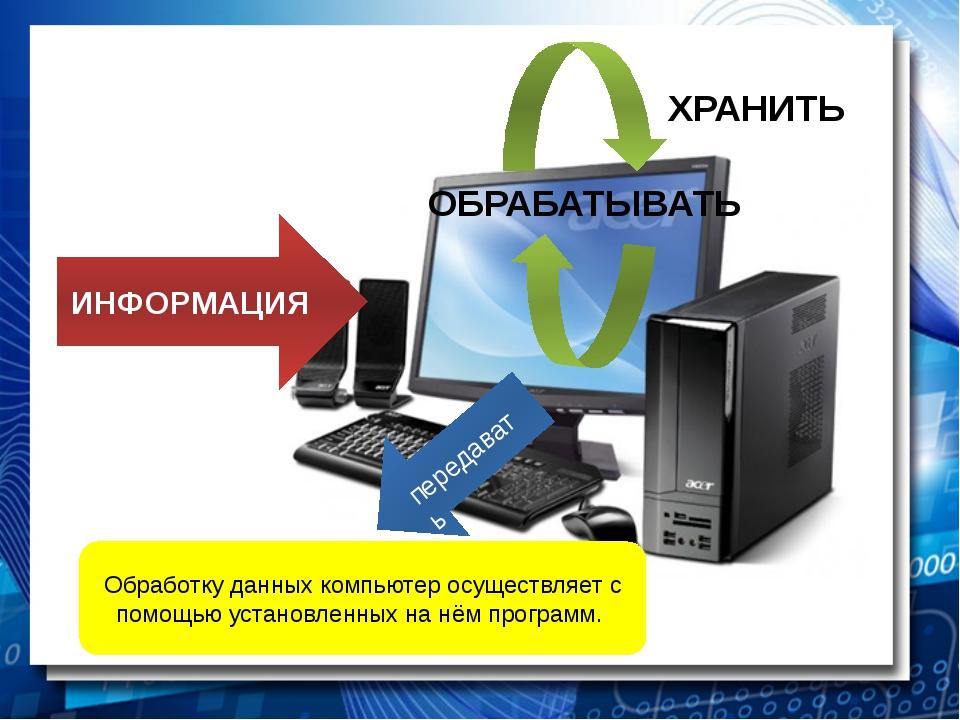ИНФОРМАЦИЯ ОБРАБАТЫВАТЬ передавать Обработку данных компьютер осуществляет с...