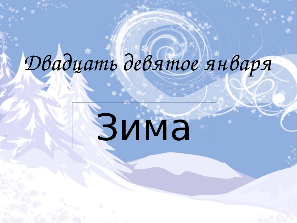 Двадцать девятое января Зима
