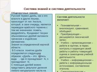 Система знаний и система деятельности Общенаучные знания. Русский термин дро