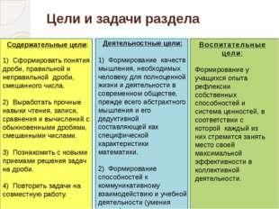 Цели и задачи раздела Деятельностные цели: 1) Формирование качеств мышления,