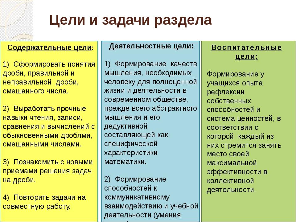 Цели и задачи раздела Деятельностные цели: 1) Формирование качеств мышления,...