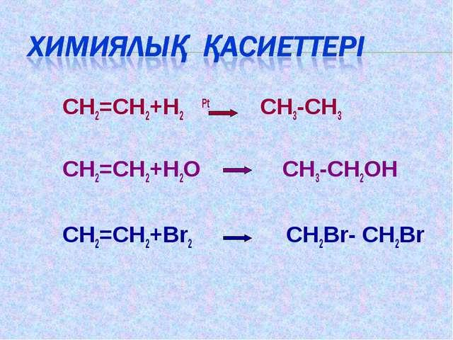 CH2=CH2+H2 Pt CH3-CH3 CH2=CH2+H2O CH3-CH2OH CH2=CH2+Br2 СH2Br- СH2Br