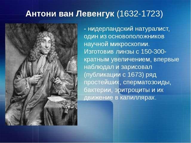 Антони ван Левенгук (1632-1723) - нидерландский натуралист, один из основопол...