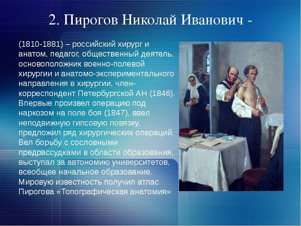2. Пирогов Николай Иванович - (1810-1881) – российский хирург и анатом, педаг...