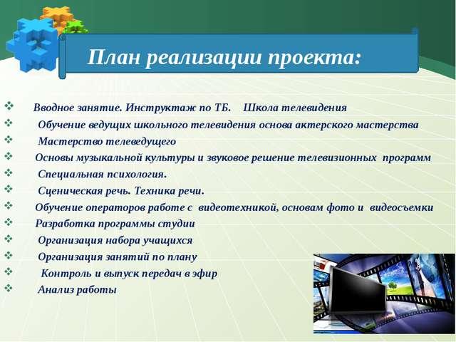 План реализации проекта: Вводное занятие. Инструктаж по ТБ. Школа телевидени...