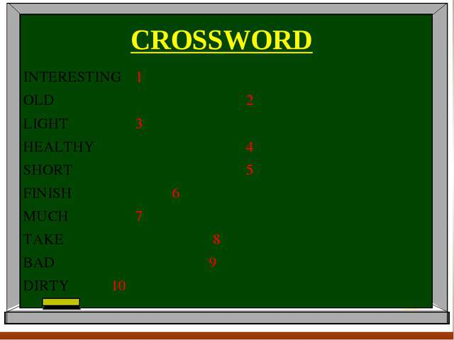 CROSSWORD INTERESTING1 OLD2 LIGHT3 HEAL...