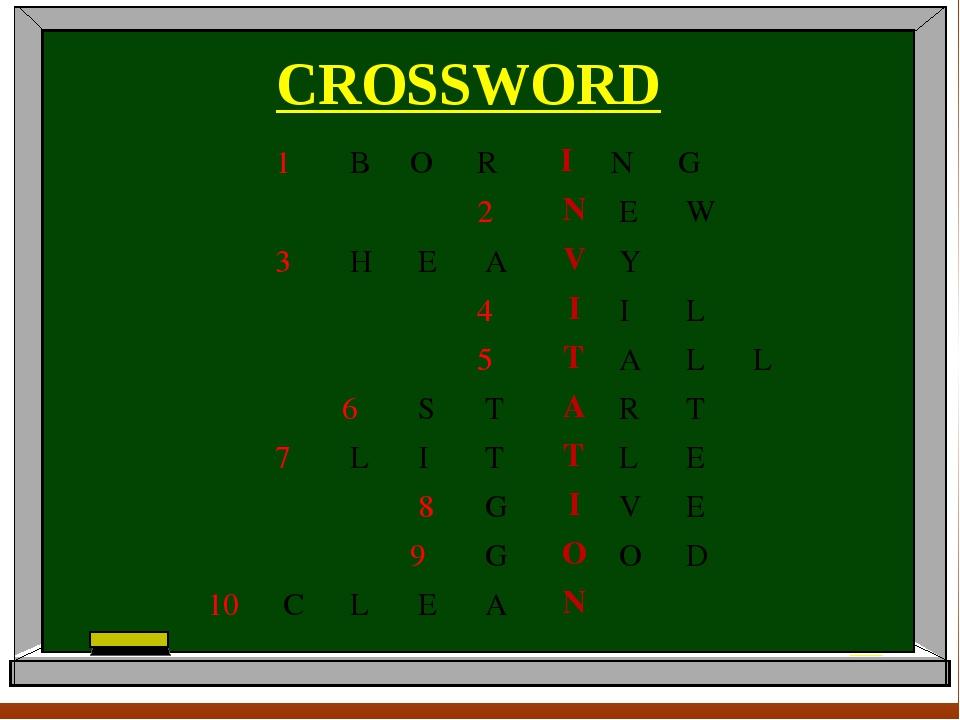CROSSWORD 1BORING 2NEW 3HEAVY 4I...