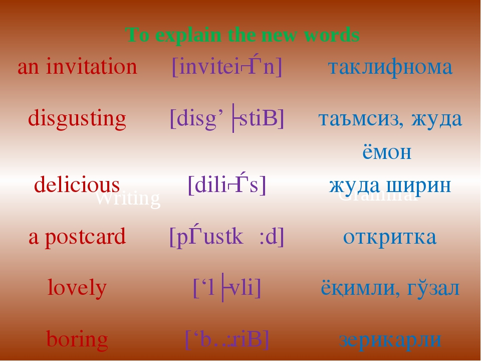 Writing Grammar To explain the new words an invitation[inviteiʃǝn]таклифном...