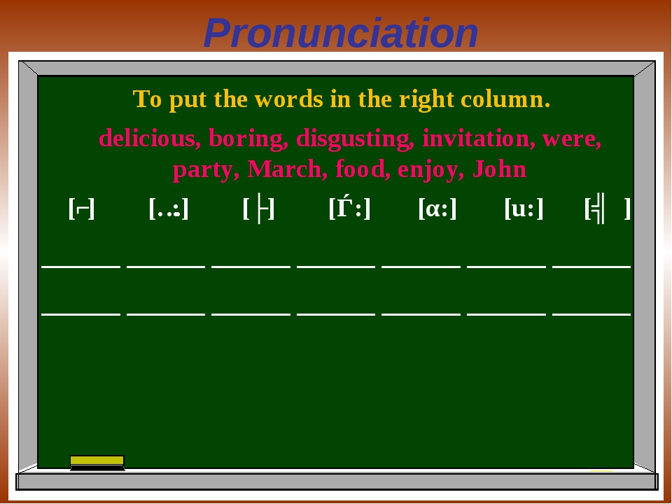 Pronunciation To put the words in the right column. [ʃ] [ɔ:] [ʌ] [ǝ:] [α:] [u...