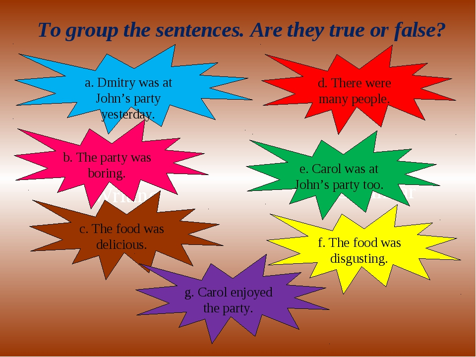 Writing Grammar To group the sentences. Are they true or false? a. Dmitry was...