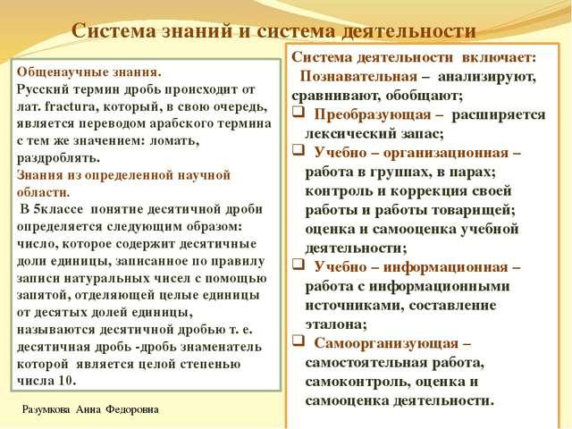 Система знаний и система деятельности Общенаучные знания. Русский термин дроб...