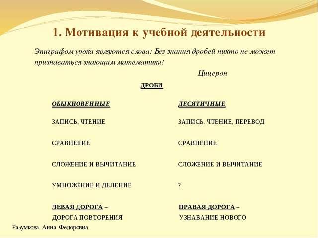 Разумкова Анна Федоровна 1. Мотивация к учебной деятельности Эпиграфом урока...