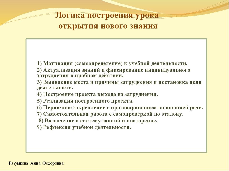 Логика построения урока открытия нового знания 1) Мотивация (самоопределение)...