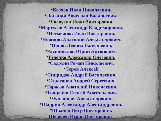 Козлов Иван Николаевич. Лопандя Вячеслав Васильевич. Лоскутов Иван Викторович...