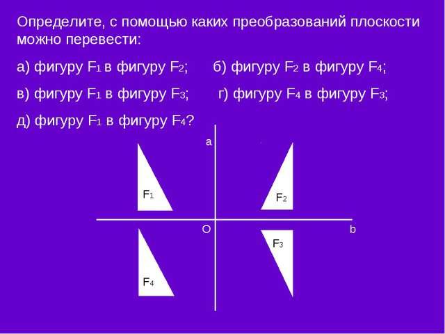 Определите, с помощью каких преобразований плоскости можно перевести: а) фигу...