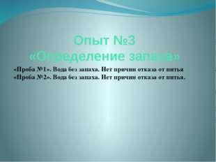 Опыт №3 «Определение запаха» «Проба №1». Вода без запаха. Нет причин отказа о
