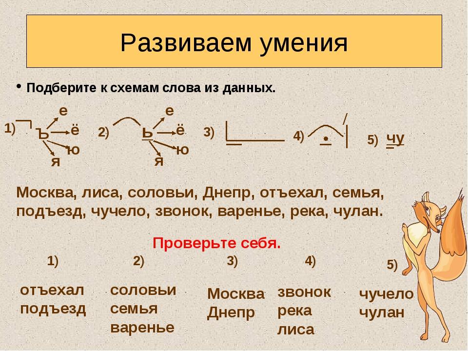 Подберите к схемам слова из данных. Развиваем умения Москва, лиса, соловьи,...