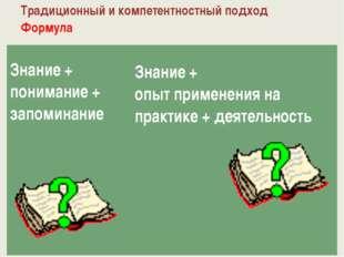 Традиционный и компетентностный подход Формула Знание + понимание + запоминан