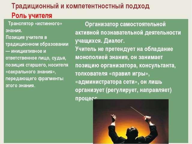 Традиционный и компетентностный подход Роль учителя Транслятор «истинного» зн...