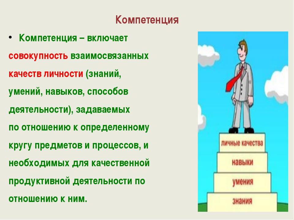 Компетенция Компетенция – включает совокупность взаимосвязанных качеств лично...