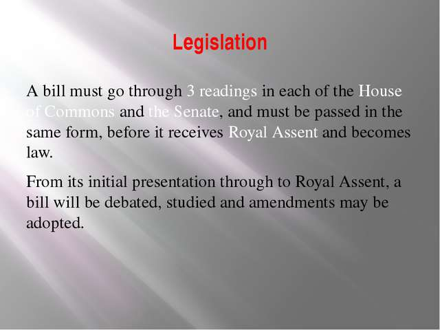 Legislation A bill must go through 3 readings in each of the House of Commons...