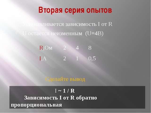 Вторая серия опытов Устанавливается зависимость I от R U остается неизменным...