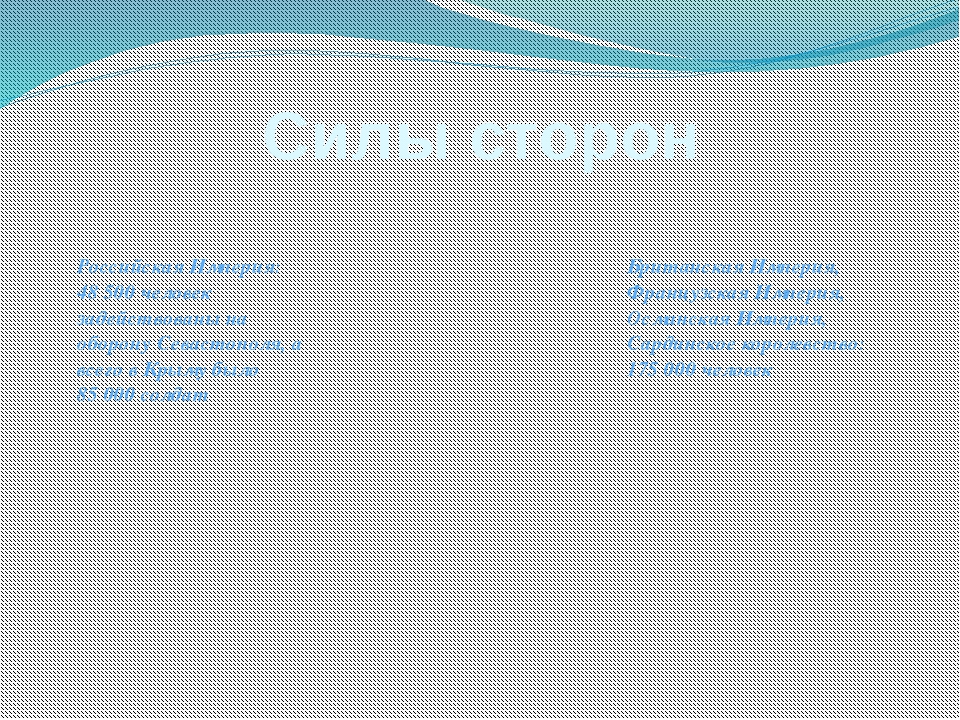 Силы сторон Российская Империя: 48 500 человек задействованы на оборону Севас...