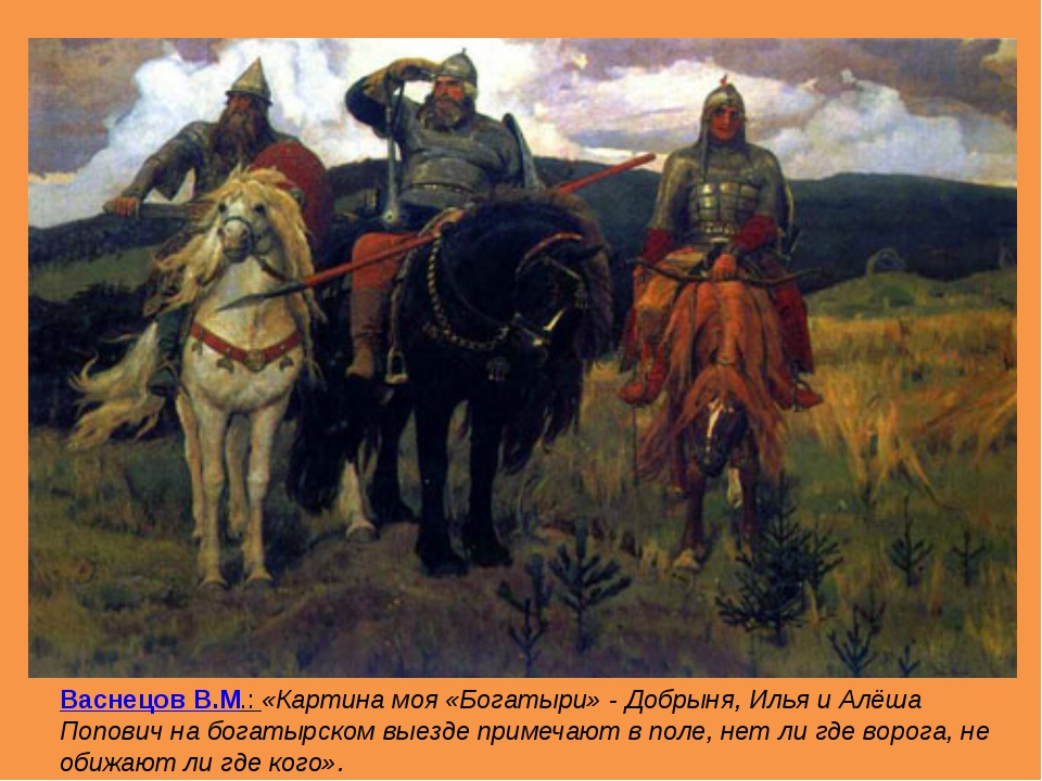 Васнецов В.М.: «Картина моя «Богатыри» - Добрыня, Илья и Алёша Попович на бо...