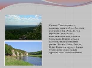 Средний Урал- холмистая невысокая часть хребта, с большим количеством гор (А