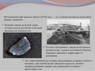 Металлургический завод на Урале в XVIII веке — это сложная система из нескол