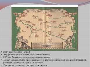 К концу царствования Петра I: Внутренний рынок получил достаточно металла. С