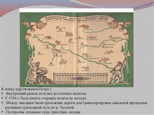 К концу царствования Петра I: Внутренний рынок получил достаточно металла. С...
