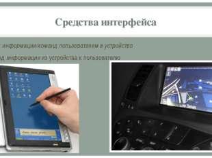 Средства интерфейса ввод информации/команд пользователем в устройство вывод