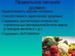 Правильное питание должно: -Удовлетворять вкусам человека, -Способствовать ук
