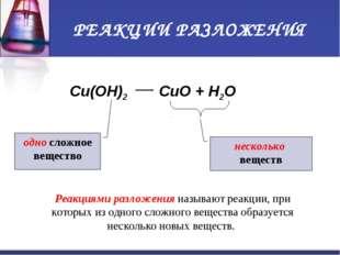 РЕАКЦИИ РАЗЛОЖЕНИЯ Cu(OH)2 CuO + H2O одно сложное вещество несколько веществ