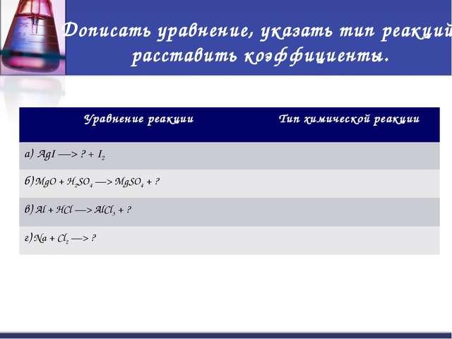 Дописать уравнение, указать тип реакций, расставить коэффициенты. Уравнение р...