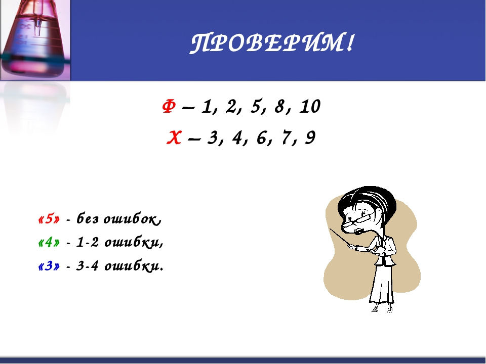 ПРОВЕРИМ! Ф – 1, 2, 5, 8, 10 Х – 3, 4, 6, 7, 9 «5» - без ошибок, «4» - 1-2 ош...