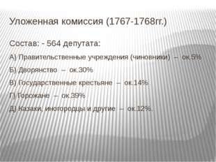 Уложенная комиссия (1767-1768гг.) Состав: - 564 депутата: А) Правительственны