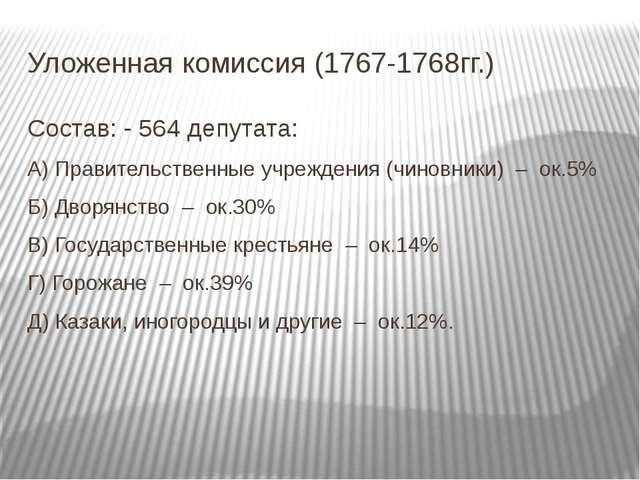Уложенная комиссия (1767-1768гг.) Состав: - 564 депутата: А) Правительственны...