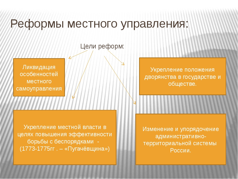 Реформы местного управления: Цели реформ: Ликвидация особенностей местного са...